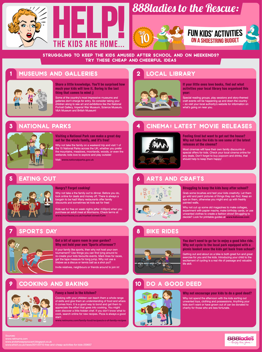 888ladies bingo infographic - 10 Afterschool Activities on a Shoestring Budget